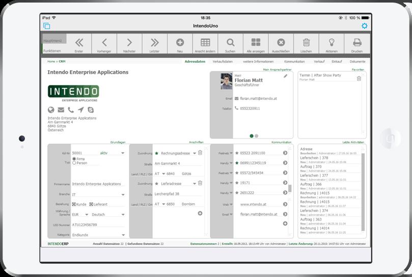 Intendo ERP auf dem iPad